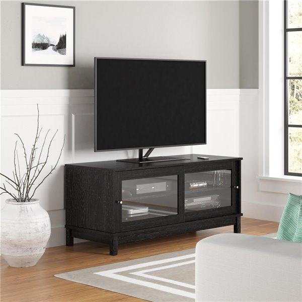 meuble pour televiseur avec portes coulissantes en verre 49 63 po x 19 69 po x 21 94 po chene noir