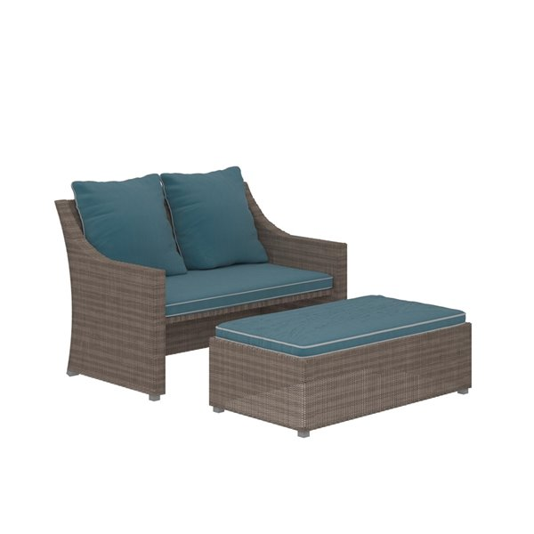 cosco outdoor 2 piece patio set with loveseat and ottoman table teal