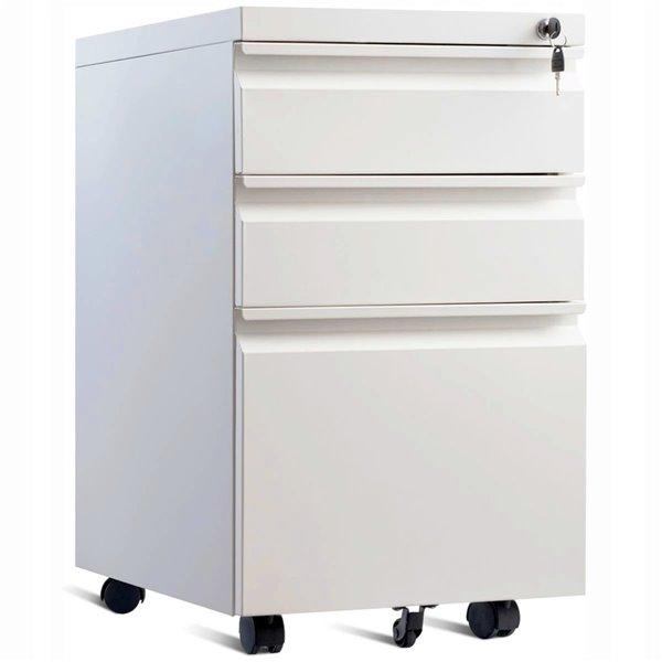 classeur mobile a roulettes a 3 tiroirs de tygerclaw avec serrure 15 6 po x 19 7 po blanc