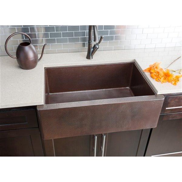 hahn copper farmhouse kitchen sink single bowl 33 in hammered copper