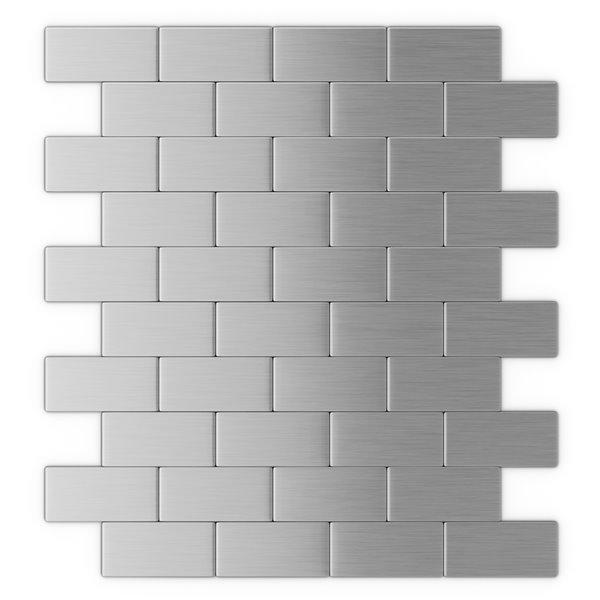 speedtiles brick metal peel and stick wall tile brick pattern 10 98 in x 11 8 in stainless steel
