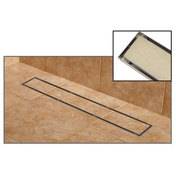 towo linear shower drain tile in 47 in x 3 po stainless steel
