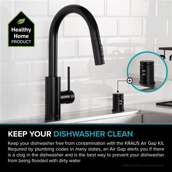 kraus dishwasher air gap matte black