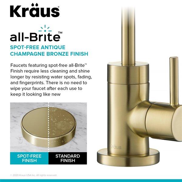 kraus purita spot free kitchen faucet water filter antique champagne bronze