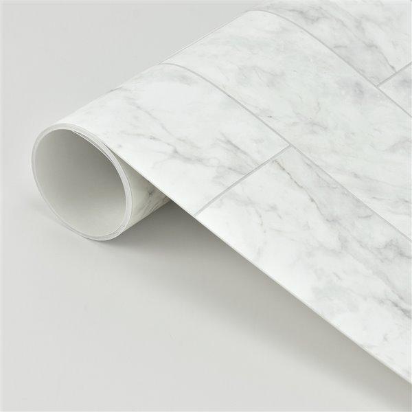 brewster marble self adhesive peel and stick backsplash tile 18 in x 108 in