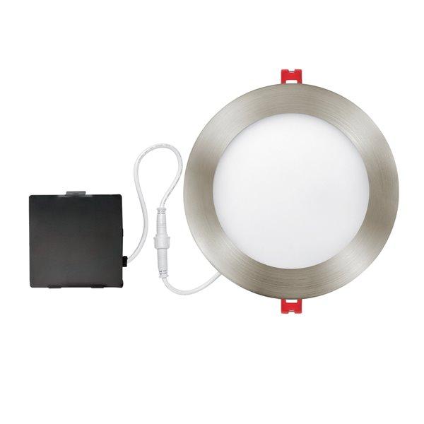 globe electric recessed lighting kit ultra slim led integrated 6 in brushed nickel