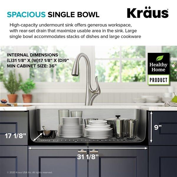 kraus undermount antibacterial single bowl sink stainless steel 33 in