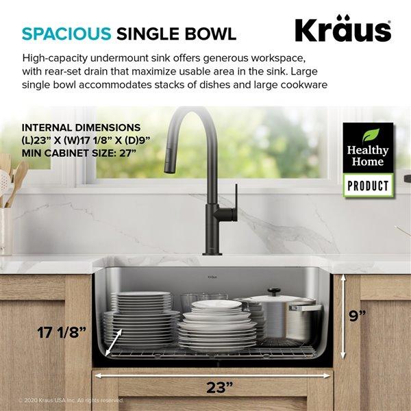 kraus undermount antibacterial single bowl sink stainless steel 25 in
