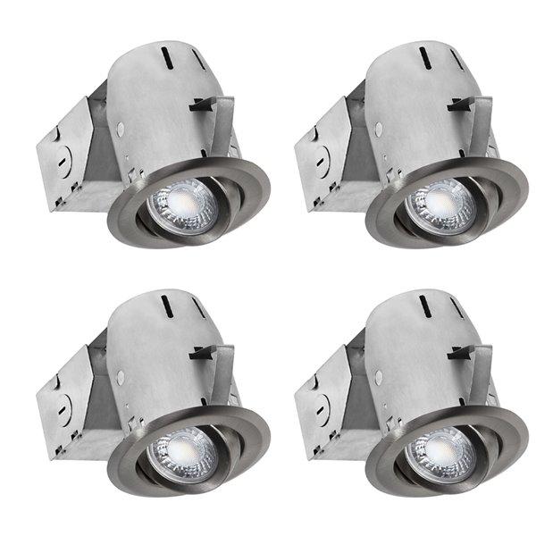 nadair led swivel recessed lights 4 pack 3 in brushed nickel