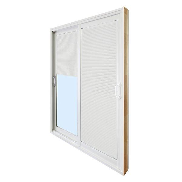 dusco doors tempered glass vinyl double patio doors with screen common 60 in x 80 in actual 59 63 in x 79 63 in white