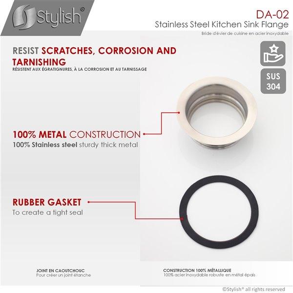 stylish kitchen sink flange stainless steel