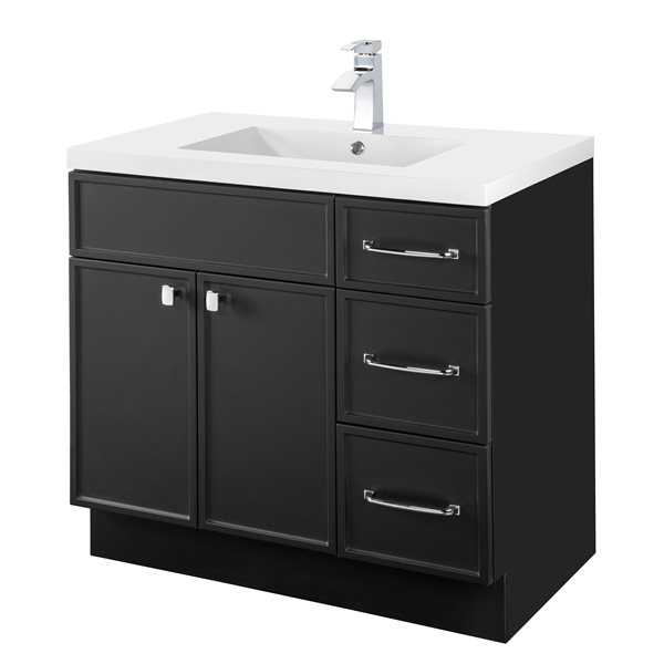 cutler kitchen bath manhattan 36 in black single sink bathroom vanity with white acrylic top