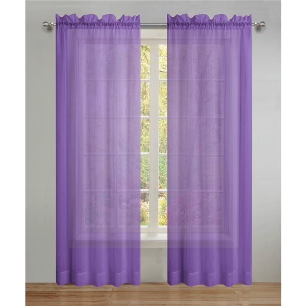 swift home 95 in purple polyester sheer interlined curtain panel pair