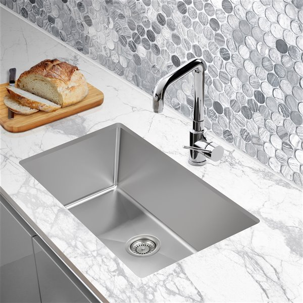 presenza undermount 18 in x 30 in stainless steel single basin 1 hole kitchen sink