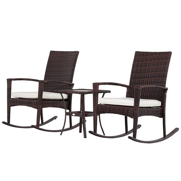 outsunny rocking chair set 3 piece brown bistro patio dining set with brown cream white cushion s included bistro