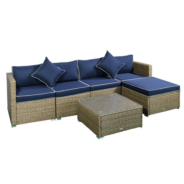 outsunny 6 piece outdoor patio wicker sofa set with cushions navy blue