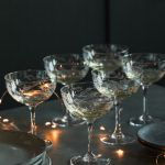 Fern Engraved Champagne Glasses Rose Grey