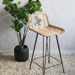 Natural Rattan Bar Stool Rose Grey