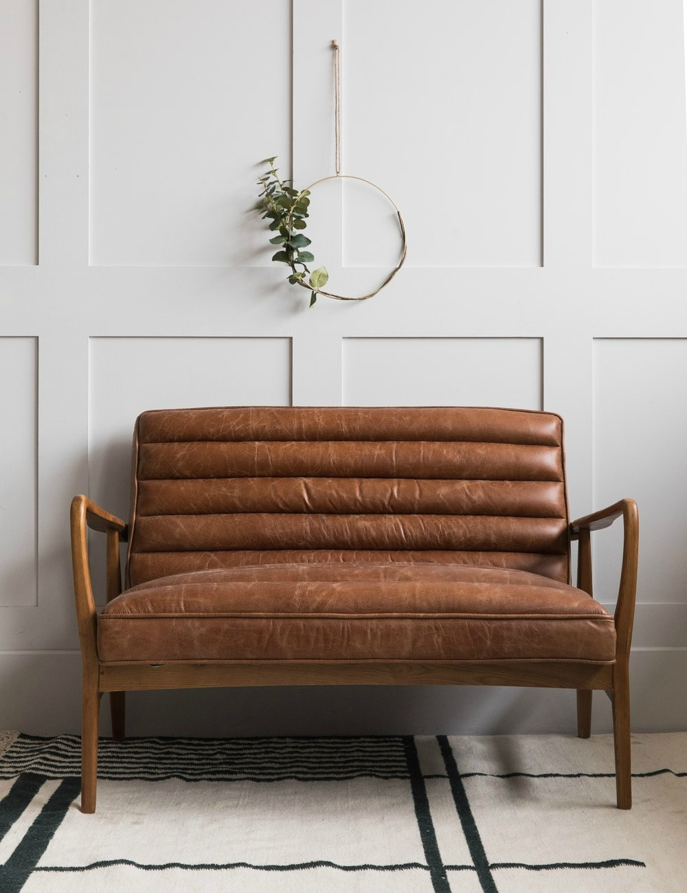 Mid Century Leather Two Seater Rose Grey
