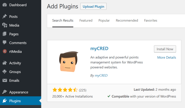 mycred plugin buddypress integration using rtmedia
