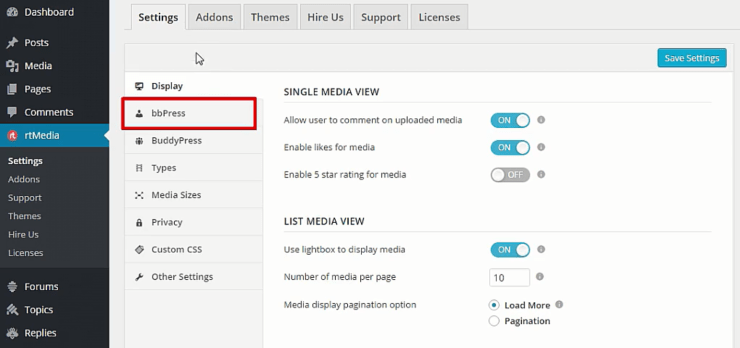 bbpress menu in rtmedia settings page