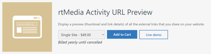 rtmedia activity url preview addon for buddypress
