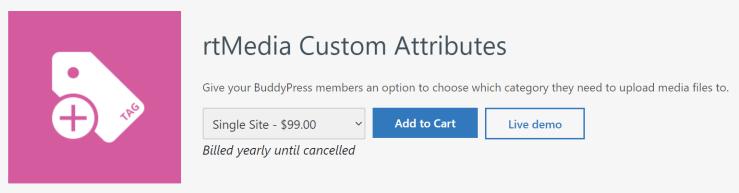 rtmedia custom attributes addon