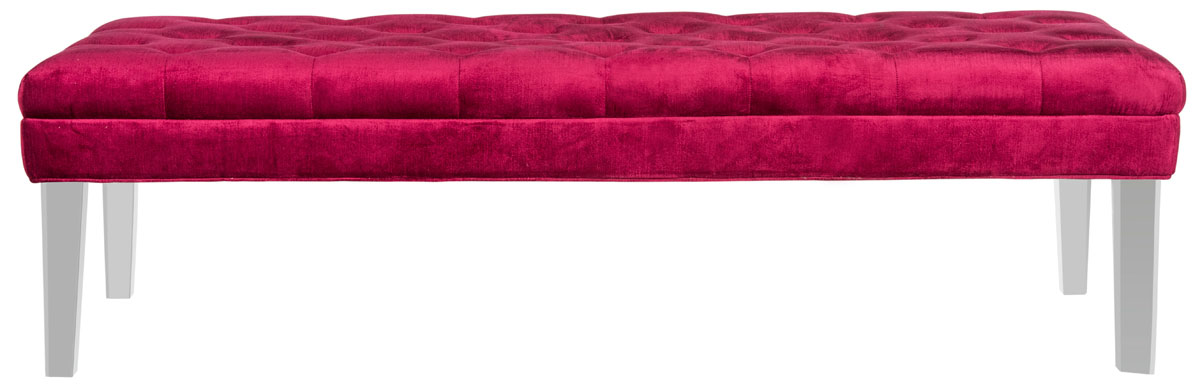 red bedroom bench - interior design