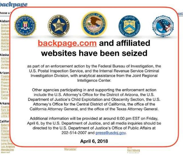 This Friday April 6 2018 Image Shows An Fbi Notice On The Backpage Com Website Federal Law Enforcement Authorities Are In The Process Of Seizing