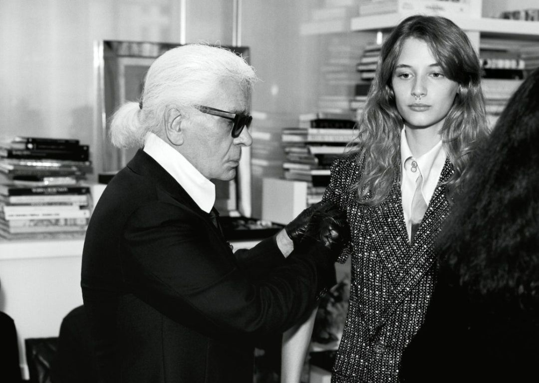 Karl Lagerfeld tailors models outfit in pre-show fittings