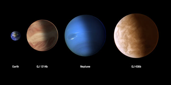 This image compares the sizes of exoplanets GJ 436b and GJ 1214b with Earth and Neptune. Image credit: NASA / ESA / A. Feild and G. Bacon, STScI.