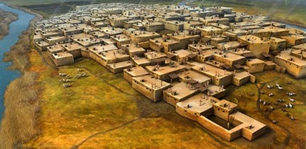 This is an artist's impression of Çatalhöyük. Image credit: Dan Lewandowski.