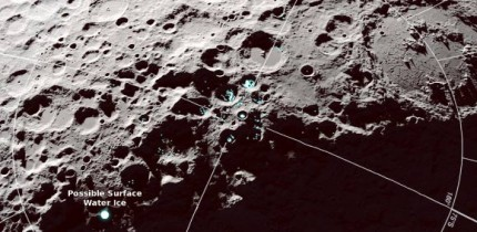 A view of the Moon's south pole showing where reflectance and temperature data indicate the possible presence of surface water ice. Image credit: NASA's Scientific Visualization Studio.