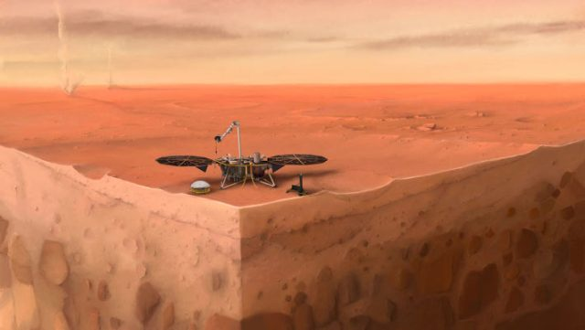 In this artist's concept of NASA's InSight lander on Mars, layers of the planet's subsurface can be seen below and dust devils can be seen in the background. Image credit: Nicolas Sarter / IPGP.