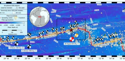 The 2016 7.1 earthquake on the Romanche Fracture Zone in the equatorial Atlantic. The map location is given by the red rectangle on the inset globe. Image credit: Hicks et al, doi: 10.1038/s41561-020-0619-9.
