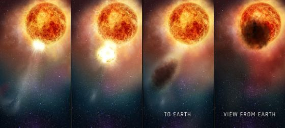 This four-panel graphic illustrates how the southern region of the rapidly evolving, bright red supergiant star Betelgeuse became fainter for several months during 2019-2020. In the first two panels, as seen in ultraviolet light with Hubble, a bright, hot blob of plasma is ejected from the emergence of a huge convection cell on the star's surface. In panel three, the outflowing expelled gas rapidly expands outward. It cools to form an enormous cloud of obscuring dust grains. The final panel reveals the huge dust cloud blocking the light (as seen from Earth) from a quarter of the star's surface. Image credit: NASA / ESA / E. Wheatley, STScI.