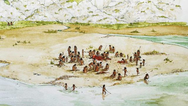 An artistic rendering of the Horse Butchery Site and the Boxgrove people; it shows how the site was situated in front of towering chalk cliffs on the edge of an intertidal lagoon; the cliffs to the north provided all the flint used in tool making at the site and, within a few hours, the tide would have begun to cover the site in fine silt, preserving evidence of the day's activity. Image credit: Lauren Gibson / Institute of Archaeology, University College London.