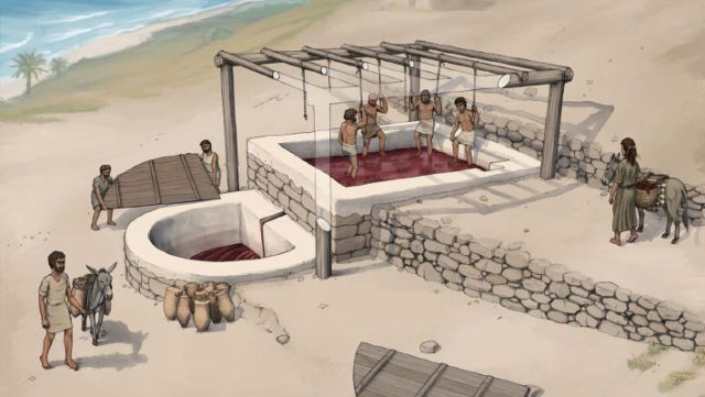 Reconstruction of the wine press at Tell el-Burak, looking from the south-east. Image credit: O. Bruderer / Tell el-Burak Archaeological Project.