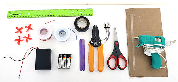 Materials to build DIY mini drone