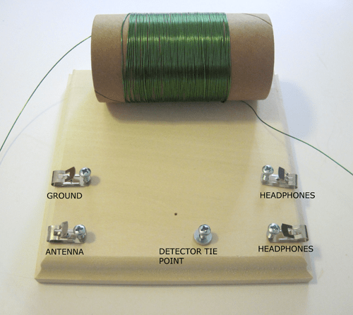 A washer and screw are inserted into a wooden block that has Fahnestock clips and a wire-wrapped cardboard tube glued to it