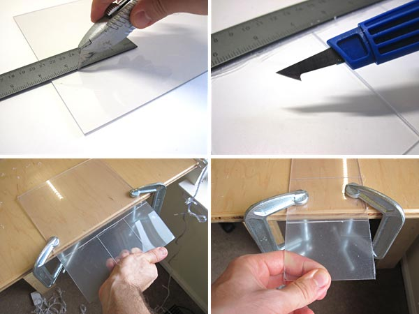 Scoring plexiglass with utility knife or plastic-cutting knife and bending the glass to snap it on the score line