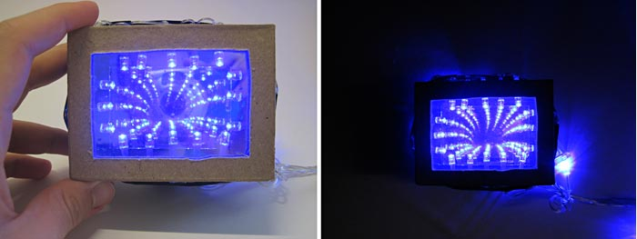 Side-by-side pictures of the infinity mirror in a well-lit room and a dark room