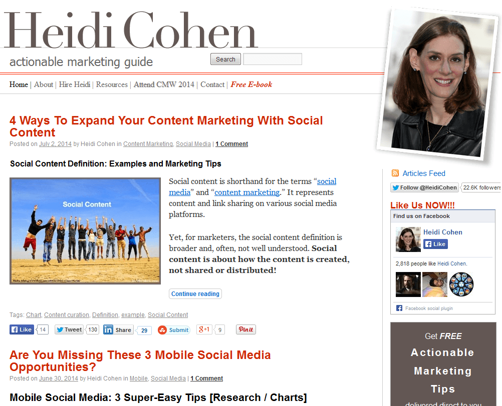 2014 07 02 20 33 58 Heidi Cohen Actionable Marketing Guide SEOlympics: Best Marketing Blogs of the US East