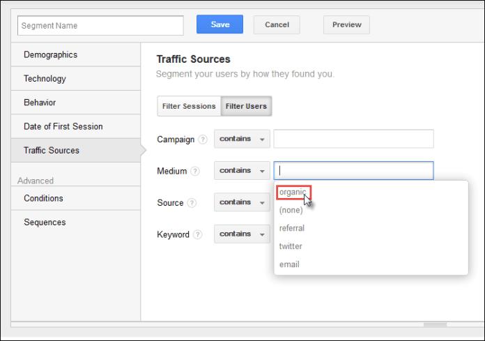 Screenshot of a custom segment including organic traffic.
