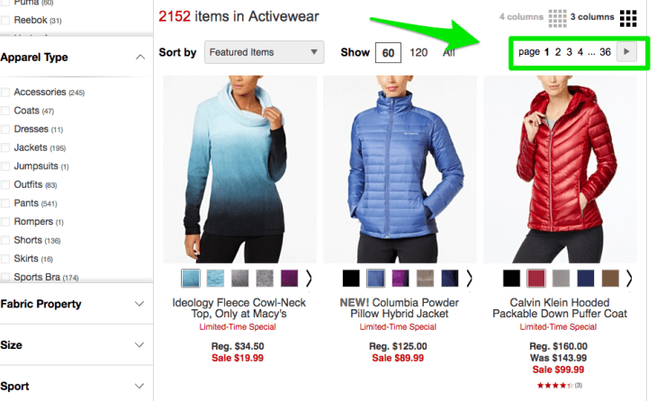 Macys separate pages