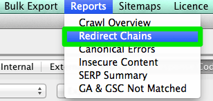 screaming frog redirect chains