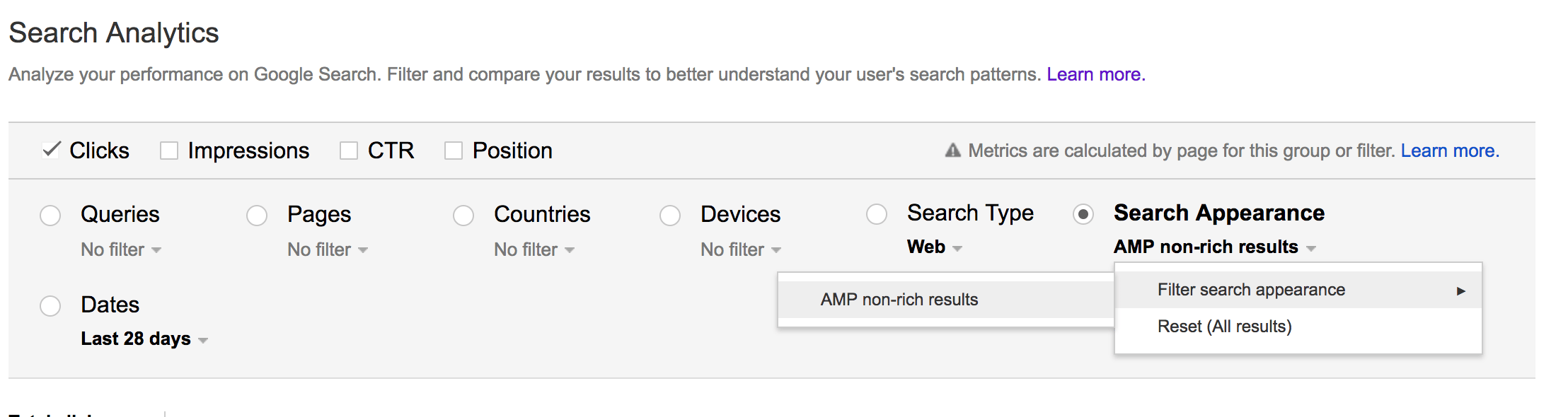 google search console amp in search analytics