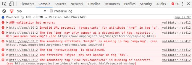 validator errors amp