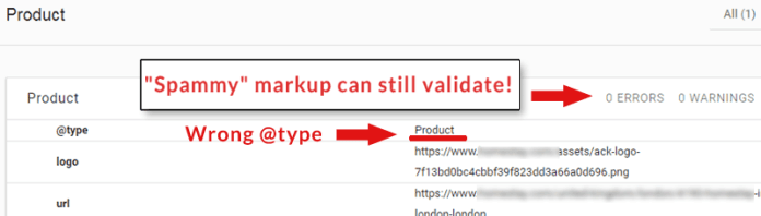 Screenshot of spammy structured data that validates