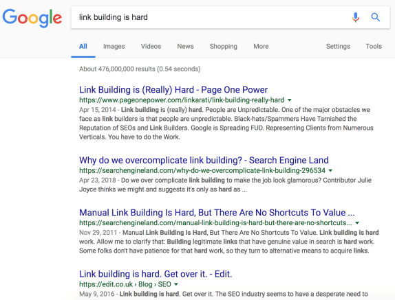 google search for link building is hard